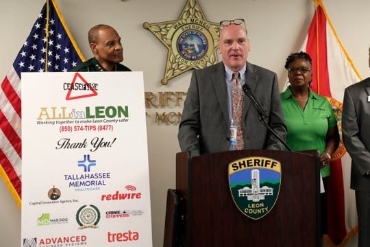 Mark O'Bryant, CEO of Tallahassee Memorial Healthcare, speaks at the Cease Fire press conference at the Leon County Sheriffs Office Wednesday, Aug. 14, 2019