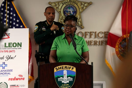 Sharon Ofuani, executive director of Big Bend Crime Stoppers, shares how to submit an anonymous tip at the Cease Fire press conference Wednesday, Aug. 14, 2019.