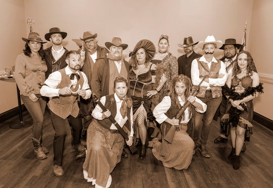 Wild West Murder Mystery cast, from left, top, Anne Warner, Dr. Justin Madigan, Rob Robinson, Chris Stamper, Christina Stamper, Sonia Bond, Matthew Right, Jennifer Renfro and Mariano Garcia; front, Pete Morello, Heidi Condon, Abby Nudelman and Valerie Carpenter.