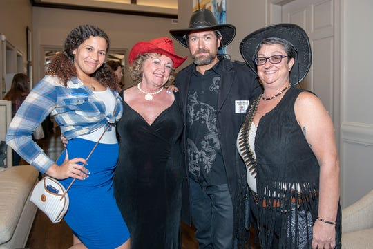 Lucie McGuire, left, Ildiko Haidacher, Matthew Right and Jackie Hawkins at the Wild West Murder Mystery benefiting Madison's Miracles at Aycock at Tradition.