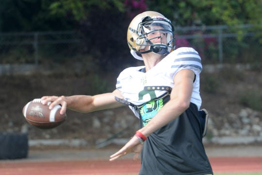 Quarterback Gavin Beerup gets ready to let a pass fly during St. Bonaventure's practice on Tuesday. Beerup, who split time at quarterback and receiver last season, is ready to take the starting QB reins for the Seraphs.