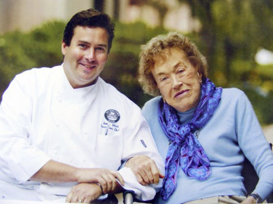 Chef Jamie West and Julia Child are seen in a 2002 photo taken during a Santa Barbara event marking Child's 90th birthday.