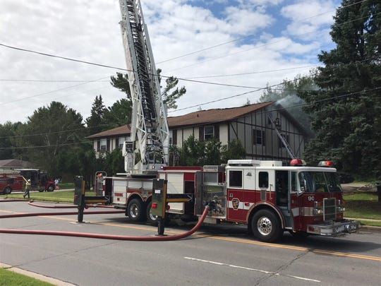 Fire crews respond to an apparent apartment fire Wednesday, Aug. 14, 2019, in the 5900 block of Camp Phillips Road in Weston.