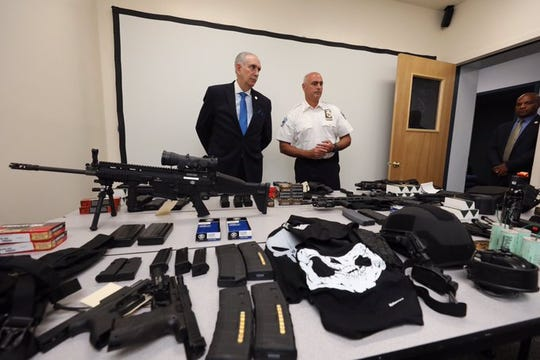 Authorities display a vast variety of weapons and other material that was confiscated after the arrest of 47-year-old Matthew Bonanno in Tuckahoe on Monday, Aug. 12, 2019. The weapons are seen Wednesday, Aug. 14, 2019.