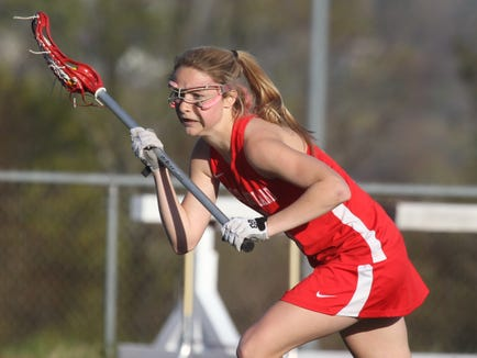 North Rockland's Kaitlyn Rau sets up for a penalty during a lacrosse game at Clarkstown South April 25, 2013.