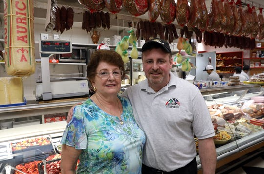Joe DiRusso and his mother, Maria Avitabile, at Avitabile Deli in Yonkers Aug. 12, 2019. The deli specializes in fresh mozzarella, Italian imports and prepared foods made with Maria's recipes.