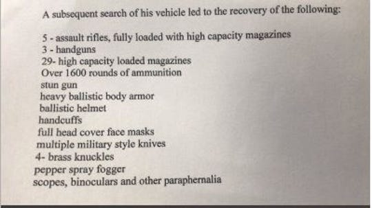 List of the cache authorities said Wednesday, Aug. 14, 2019, was found in Matthew Bonanno's car. Bonanno was arrested by Tuckahoe police