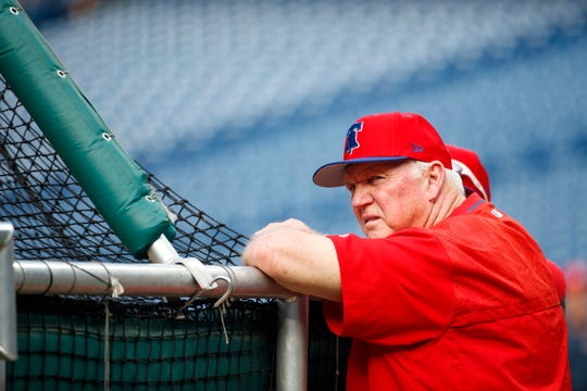 Philadelphia Phillies batting coach Charlie Manuel watches batting practice before the first inning of a game against the Chicago Cubs, Wednesday in Philadelphia.