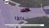 Kansas City, Kansas, police shot and killed a man who told a hotel manager that he had killed his wife and was heading to a popular shopping area.