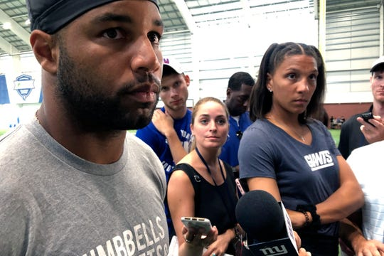 New York Giants wide receiver Golden Tate speaks to the media Wednesday.