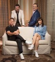 """Adam Devine, left, Danny McBride, John Goodman and Edi Patterson play members of a rich family at the head of a megachurch empire in the new HBO comedy series, """"The Righteous Gemstones."""""""