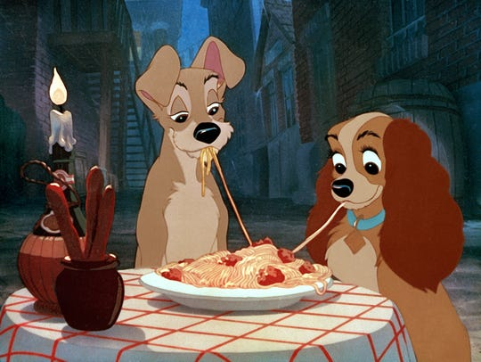 "A scene from the original ""Lady and the Tramp."""