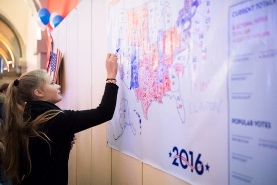 U.S. election map at a cafe in Bern, Switzerland, on Nov. 9, 2016.