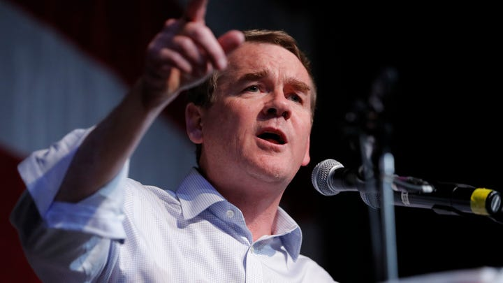 Democratic presidential candidate Sen. Michael Bennet, D-Colo., speaks at the Iowa Democratic Wing Ding at the Surf Ballroom, Friday, Aug. 9, 2019, in Clear Lake, Iowa.