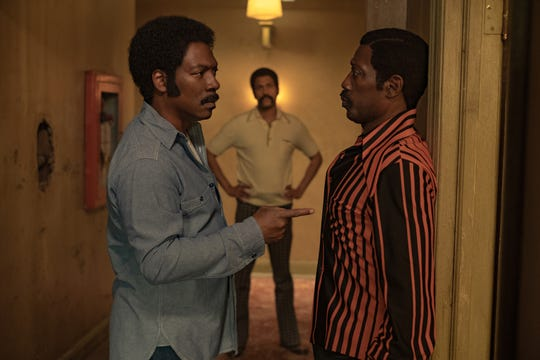 "Eddie Murphy (left), Keegan-Michael Key and Wesley Snipes star in ""Dolemite Is My Name."""