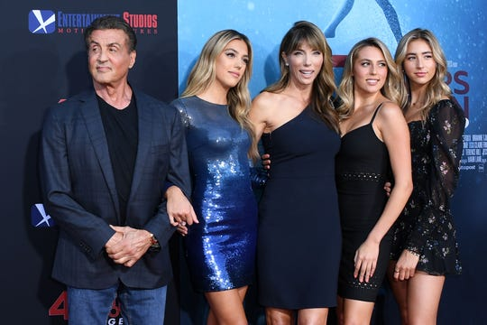 "Sylvester Stallone,  Sistine Rose Stallone, Kennifer Flavin, Sophia Rose Stallone, Scarlet Rose Stallone attend the premiere of ""47 Meteres Down: Uncaged."""