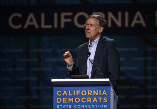 Democratic presidential candidate former Colorado Gov. John Hickenlooper speaks during the California Democratic Party's June Convention.