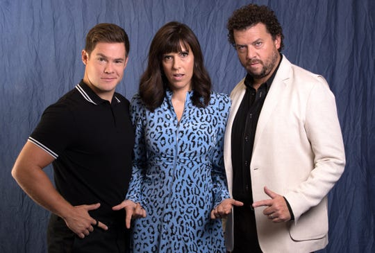 Adam Devine, left, Edi Patterson and Danny McBride play battling siblings and heirs to a multimillion-dollar ministry in HBO's 'The Righteous Gemstones.'