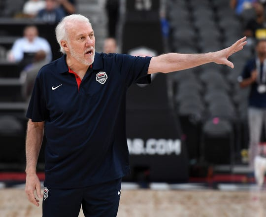 Head coach Gregg Popovich of the 2019 USA Men's National Team gestures to players on the court before the 2019 USA Basketball Men's National Team Blue-White exhibition game at T-Mobile Arena on August 9, 2019 in Las Vegas, Nevada.