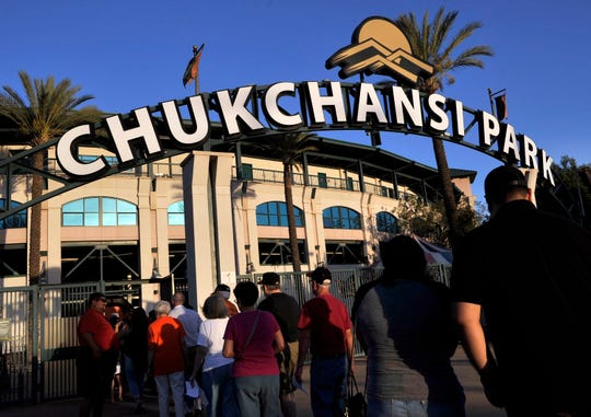 Fans arrive at Chukchansi Park, home of the Fresno Grizzlies, in 2015.