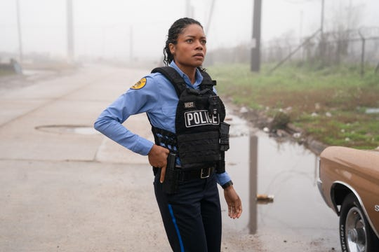 "Naomie Harris stars as a rookie cop who captures the death of a young dealer on her body cam in ""Black and Blue."""