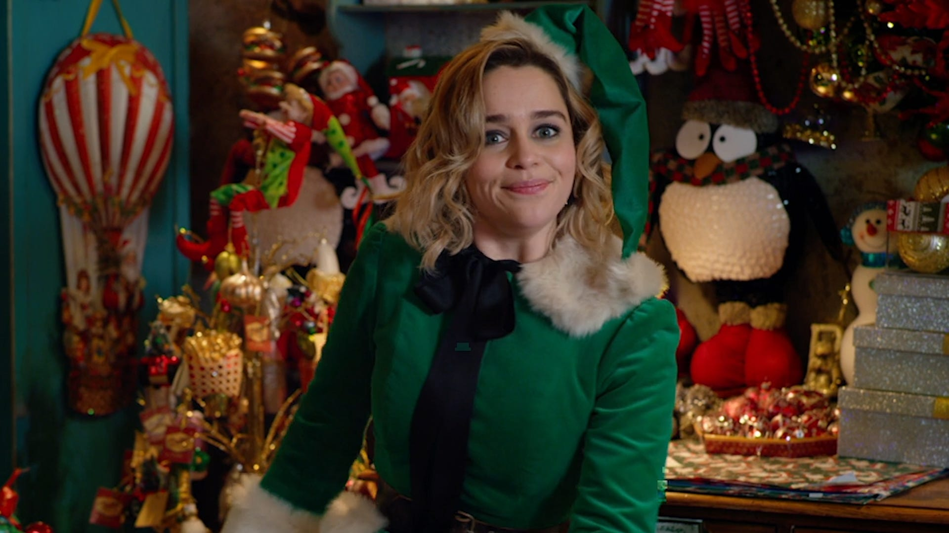Emilia Clarke rings in the holidays