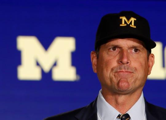 Michigan Wolverines head coach Jim Harbaugh at Big Ten Media Day.
