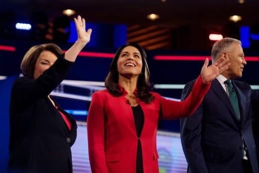 U.S. Rep. Tulsi Gabbard, D-HI, center, announced she was running for president on Feb. 2, 2019.