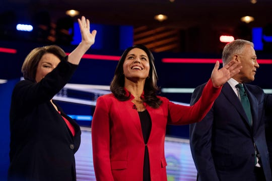 U.S. Rep. Tulsi Gabbard, D-HI, center, announced she was running for president on Feb. 2, 2019.