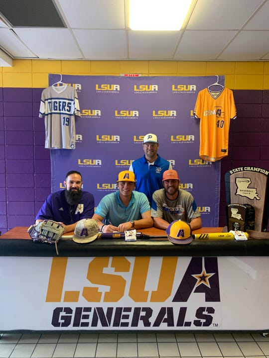 Pitkin pitcher Grason Dauzat (bottom row, middle) recently signed with LSUA for baseball.