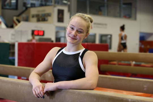 Riley McCusker, an Olympic hopeful who moved from Connecticut to Brielle to train with Maggie Maggie Haney and her MG Elite team, is interviewed at Monmouth Gymnastics Elite in Marlboro, NJ Thursday, August 15, 2019.
