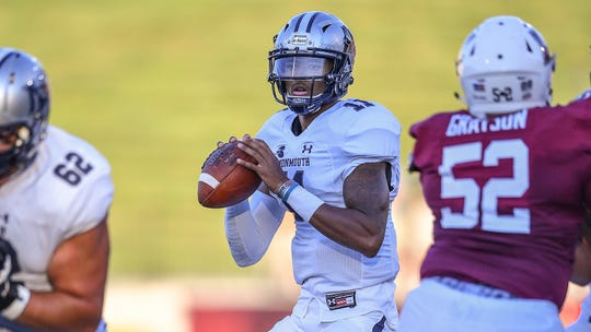 Monmouth quarterback Kenji Bahar, a fifth-year senior, hopes to lead the Hawks to their first Big South championship this season.