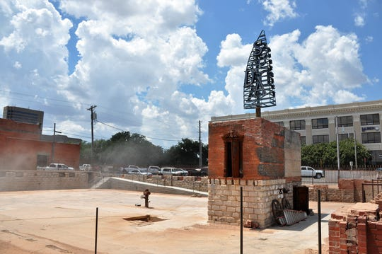 A new wayfinding sign for the SoDA district, which is south of downtown Abilene, is now visible at South First and Oak streets on top of the vault of the old Matera Building that burned in 2012.