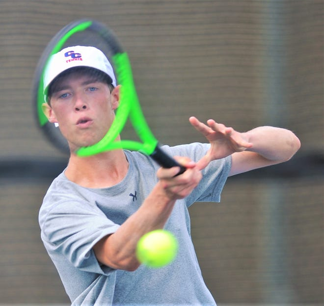 Cooper's Michael Scarborough eyes his return shot to Sweetwater's Isaiah Pena. Scarborough won the match 6-3, 6-2, and the Coogs beat Sweetwater 19-0 on Wednesday, Aug. 14, 2019, at the CHS courts.