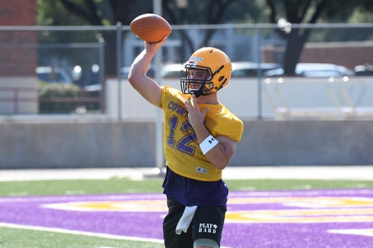 Hardin-Simmons quarterback Brennen Wooten (12) throws a pass during the first fall practice at Shelton Stadium on Thursday, Aug. 15, 2019. The Cowboys open the season on Aug. 31 at Sul Ross State.