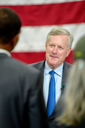 U.S. Rep. Mark Meadows,R-Transylvania,tours Rinehart Racing, a manufacturer of exhaust systems for Harley-Davidson and Indian Motorcycles, in FletcherAugust 14, 2019.