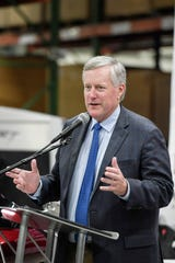 U.S. Rep. Mark Meadows, R-Transylvania, tours Rinehart Racing, a manufacturer of exhaust systems for Harley-Davidson and Indian Motorcycles, in Fletcher August 14, 2019.