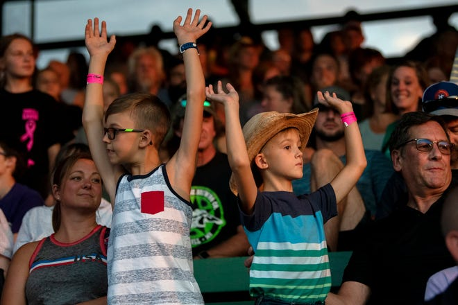 Hundreds attend a Lost Nations Rodeo on Wednesday, Aug. 14, 2019 at the Calhoun County fairgrounds in Marshall, Mich.