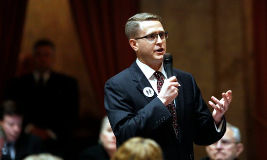 FILE - In this Feb. 8, 2012 file photo Rep. Matt Shea, R-Spokane Valley, speaks in Olympia.
