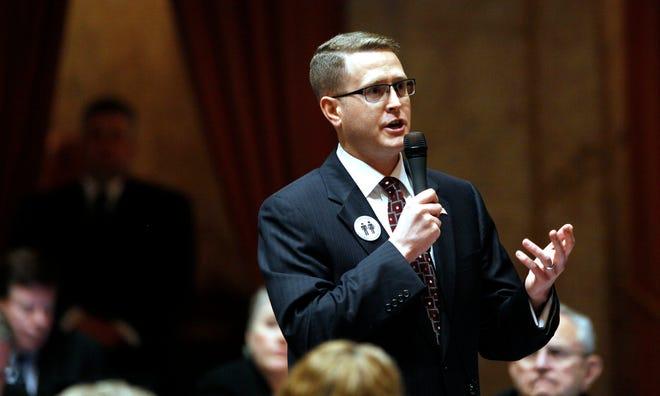 FILE - In this Feb. 8, 2012 file photo Rep. Matt Shea, R-Spokane Valley, speaks in Olympia.