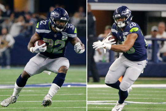Seattle Seahawks running backs Chris Carson (32) and Rashaad Penny (20) will likely be sharing the workload in Seattle's backfield in 2019.
