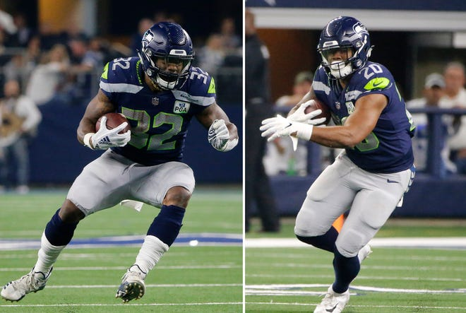 Running back Chris Carson (32) may command more on the free agent market than the Seahawks can pay, making Rashad Penny's return from a knee injury a major part of Seattle's backfield plan for 2021.