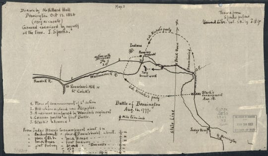 Hand drawn map of the Battle of Bennington, Aug. 16, 1777, by M. Hillard Hall.