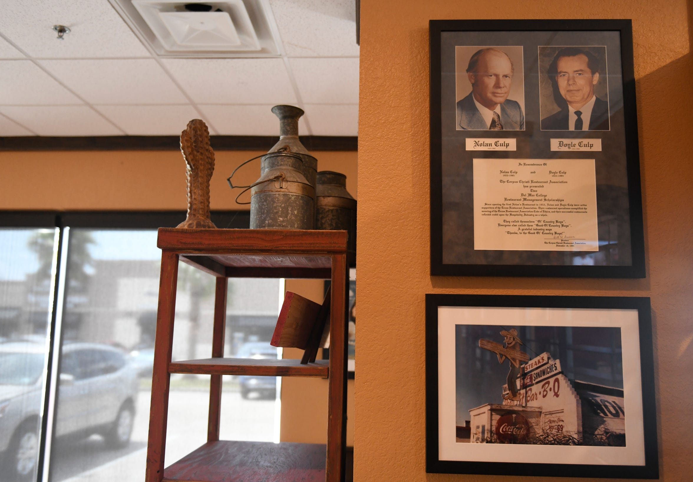 Nolan's was founded by brothers Nolan and Doyle Culp in 1953 and has had locations all over the Corpus Christi area. The location at Staples and Yorktown Blvd., seen on Thursday, Aug. 15, 2019, has photos of the founders and it's original location on Ayers Street on the wall.