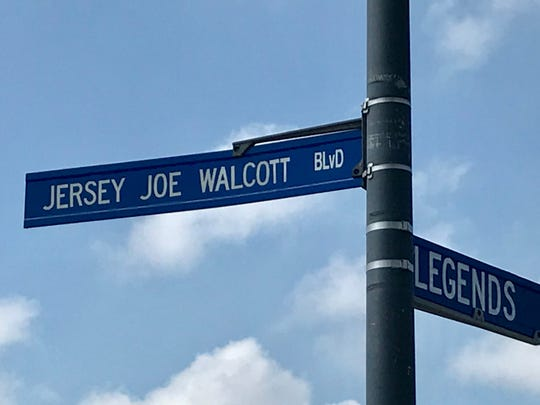 A street sign marks Jersey Joe Walcott Boulevard on Camden's Waterfront.