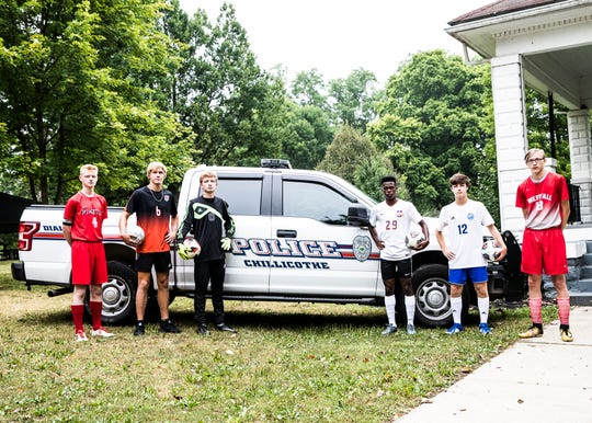 Boys soccer is back in the Scioto Valley as the local players look to take no prisoners this upcoming season for their school's team. (L-R) Piketon's Bryce Morgensen, Waverly's Grayson Diener, Zane Trace's Andrew Ramsey, Unioto's Vijay Wangui, Southeastern's Parker George, and Westfall's Patrick Bundock. Photo taken at Yoctangee Park with assistance from Captain Ron Meyers and the Chillicothe Police Department.