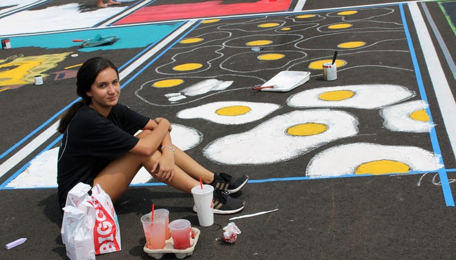 Senior Lily Gonzalez used an egg theme when she painted her parking spot at Fairfield Senior High School.