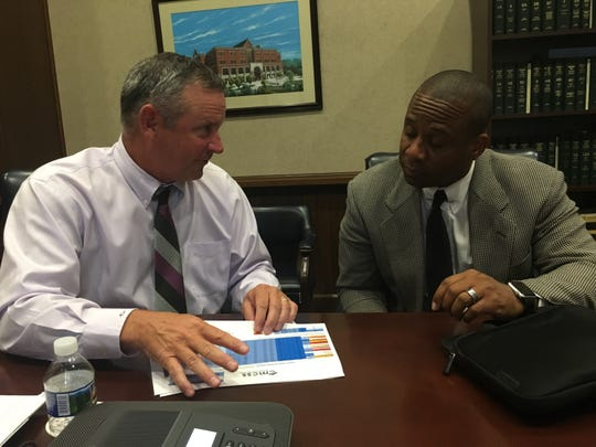 County Mayor Jim Durrett, left, and Schools Director Millard House discuss progress in selecting a site for a new school in Clarksville-Montgomery County.