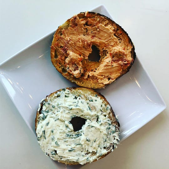 Bagels topped with spreads from Nosh Cafe & Eatery.
