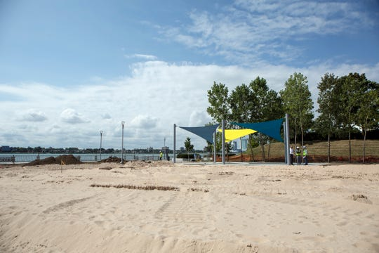 The soon-to-open Atwater Beach between Chene and Jos Campau on the east Riverfront has a large sandy beach, playscape, and events shed as part of the amenities on the RiverWalk, in Detroit Mich., Thursday, Aug 15, 2019.